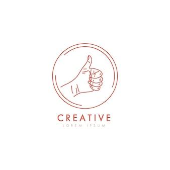 Mão feminina como logotipo em estilo linear mínimo.