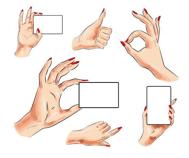 Mão feminina de vetor com cartão e conjunto de gesto de mão