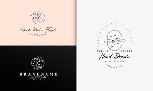 Mão feminina estética com design de logotipo limpo