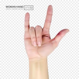 Mão feminina mostra rock. ilustração realista sobre fundo transparente.