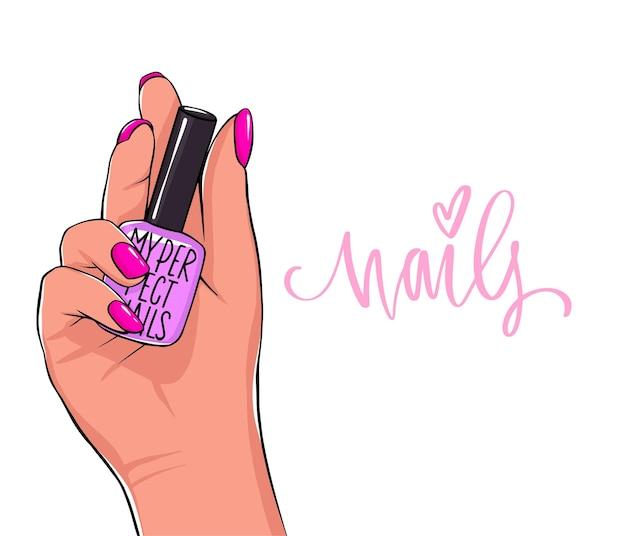 Mão feminina segura o frasco de esmalte. letras manuscritas sobre unhas e manicure.