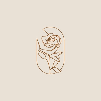 Mão feminina segurando a flor do logotipo da rosa ou o design do ícone isolado em um fundo claro