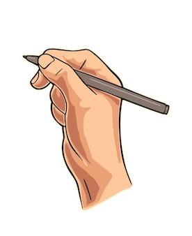 Mão feminina segurando um lápis ilustração em vetor cor plana isolada no branco