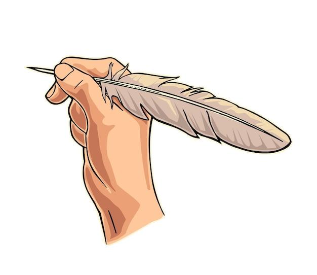 Mão feminina segurando uma pena de ganso. ilustração em vetor cor plana isolada no branco