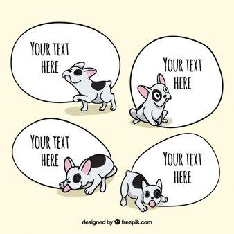 Mão filhote de cachorro lindo desenhado com bolhas do discurso
