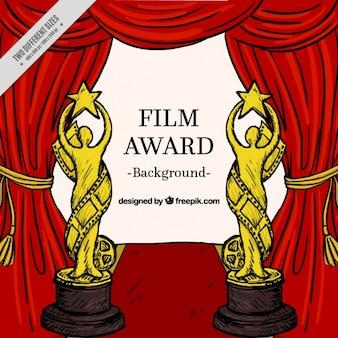 Mão filme fundo desenhado prêmio