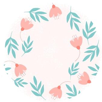 Mão floral desenhada ilustração vetorial na forma de um quadro flores e folhas com lugar para texto