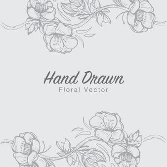 Mão floral fundo desenhado
