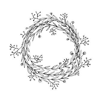 Mão fofa desenhada moldura redonda com elementos florais ervas folhas flores ramos ramos doodle