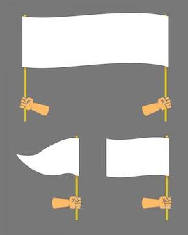 Mão forte segurando bandeira em branco