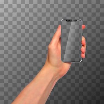 Mão fotorrealista com o novo smartphone sem moldura moderno