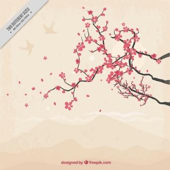 Mão fundo da árvore desenhada bonito cereja