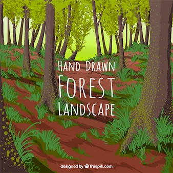 Mão fundo da floresta desenhada