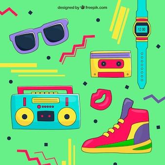 Mão fundo do estilo dos anos 80 desenhadas
