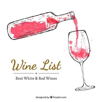 Mão garrafa de vinho pintado e um copo de vinho