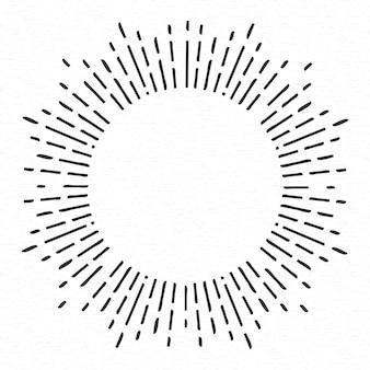 Mão geométrica desenhada raios de sol, linhas ray estrelas.