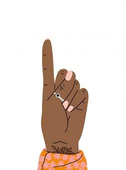 Mão gesto um dedo para cima. mão mostrando um dedo ou contando um. estilo dos desenhos animados. ilustração design plano isolada