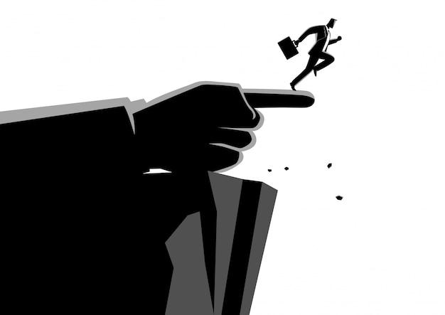 Mão gigante, apontando para o caminho errado para um empresário