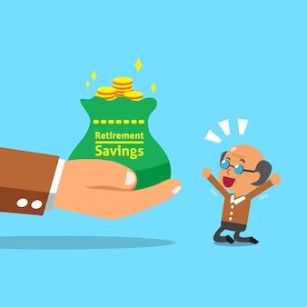 Mão grande de negócios dando saco de poupança de aposentadoria para homem sênior