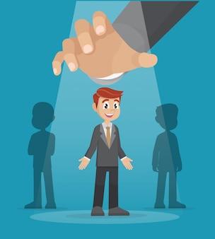 Mão grande que escolhe a escolha certa do grupo de empresários