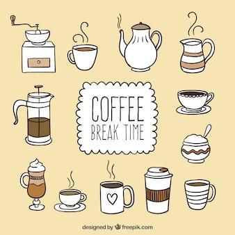 Mão hora do café desenhada