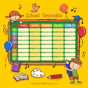 Mão horário escolar desenhado com desenhos