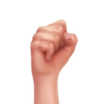 Mão humana com dedos dobrados primeiro