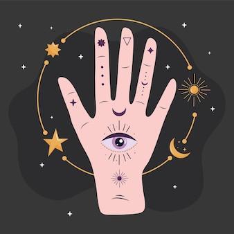 Mão humana com olho esotérico e estrelas douradas e ilustração da lua