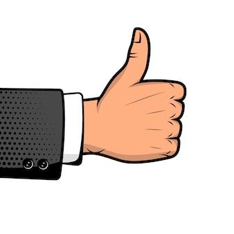 Mão humana com sinal. selo de aprovação. ilustração do estilo pop art.