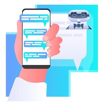 Mão humana discutindo com robô assistente de chatbot mensagem de voz aplicativo de chat de áudio comunicação on-line ilustração do conceito de inteligência artificial