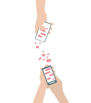 Mão humana está enviando amor sms