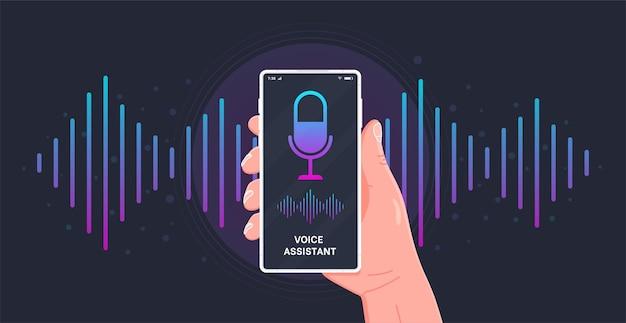 Mão humana segura smartphone com botão de microfone na tela e ondas de imitação de voz e som