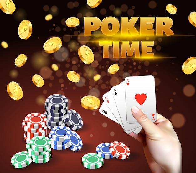 Mão humana, segurando, cartas de jogar, com, quatro, ases