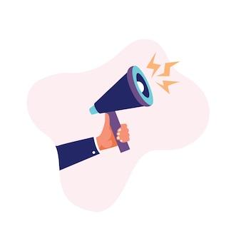 Mão humana, segurando, megafone, ou, bullhorn, vetorial, ilustração