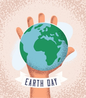 Mão humana segurando o planeta terra. conceito do dia da terra. modelo de design de cartaz ou folheto. ilustração com estilo vintage com textura grunge