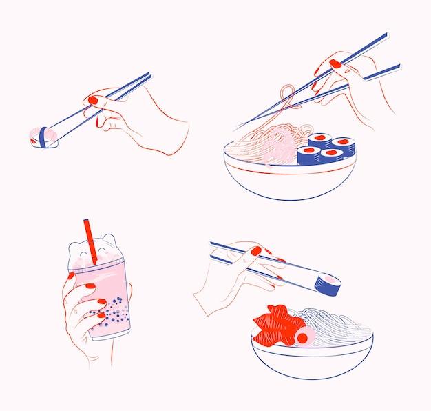Mão humana segurando pauzinhos e sushi, rolo, tigela de macarrão, xícara de chá de bolha. ilustração de comida japonesa