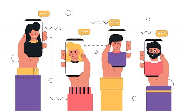 Mão humana segurando um smartphone com o rosto na tela, tela de toque com um dedo, conceito de chamada de vídeo.