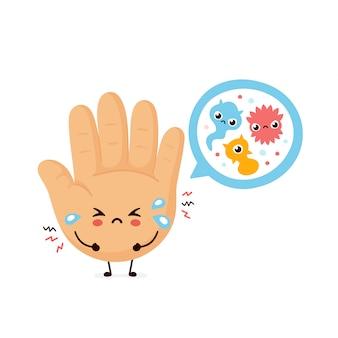 Mão humana triste bonita e bactérias microscópicas