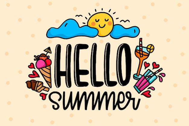 Mão ilustrações desenhadas com elementos de verão