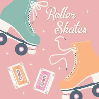 Mão ilustrações desenhadas com patins retrô e fitas cassete.