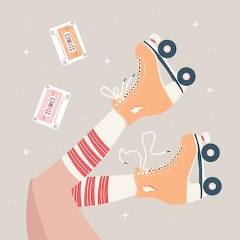 Mão ilustrações desenhadas com pernas femininas e meias tubo e patins retrô.