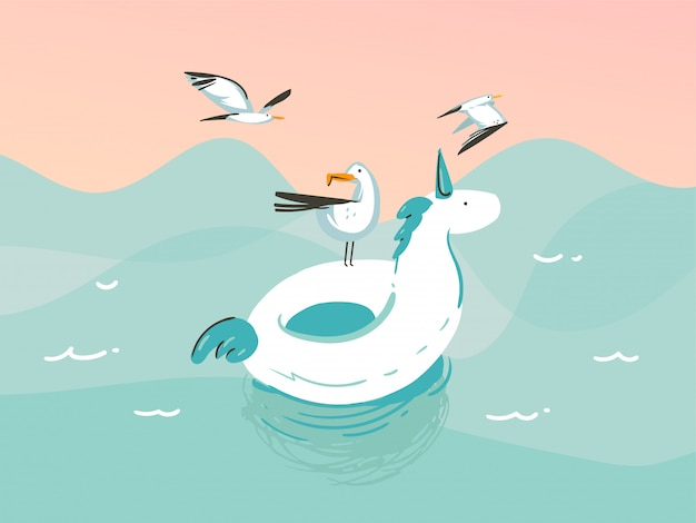 Mão ilustrações desenhadas com um unicórnio nadando anéis de flutuador de borracha na paisagem de ondas do oceano em fundo azul
