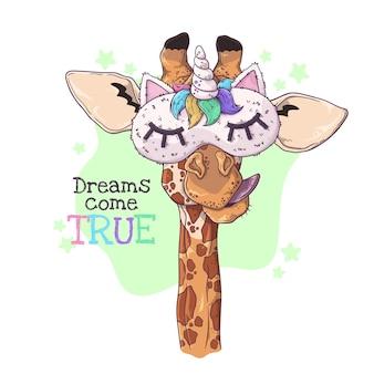 Mão ilustrações desenhadas da girafa bonitinha em uma máscara de noite.