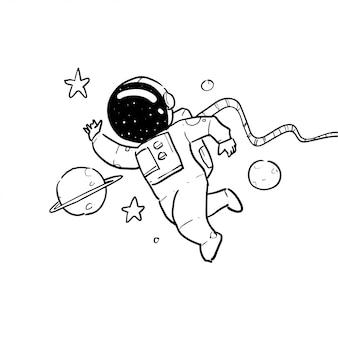 Mão ilustrações desenhadas de astronauta