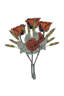 Mão ilustrações desenhadas de buquê de rosas vermelhas.