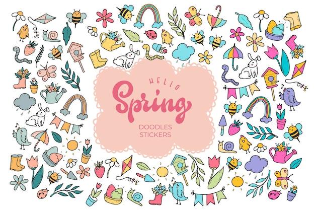 Mão ilustrações desenhadas de elementos de primavera e letras em banner centralizado