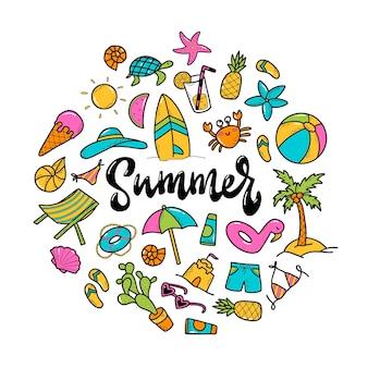 Mão ilustrações desenhadas de elementos de verão e letras