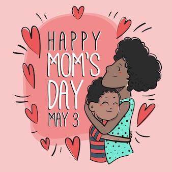 Mão ilustrações desenhadas de mãe com filho