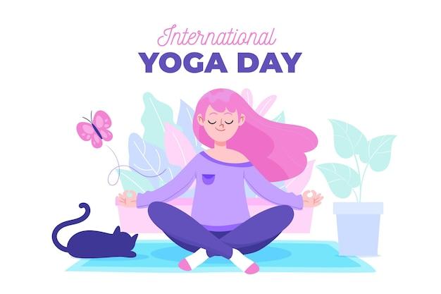 Mão ilustrações desenhadas de mulher fazendo yoga