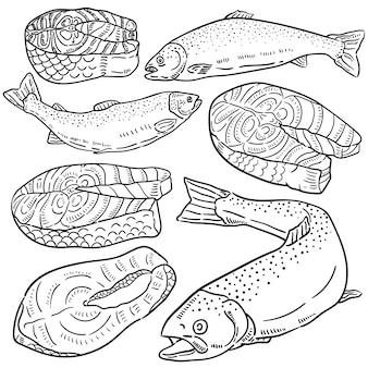 Mão ilustrações desenhadas de salmão.